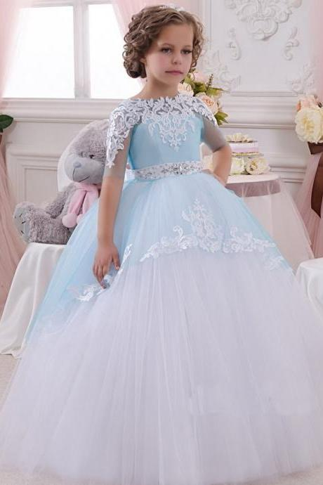 Light Blue Flower Girl Dress, Lace Applique Flower Girl Dress, Princess Flower Girl Dress, Beaded Flower Girl Dress, Kids Evening Ball Gown, Pageant Little Girl Dress, Flower Girl Dresses for Weddings