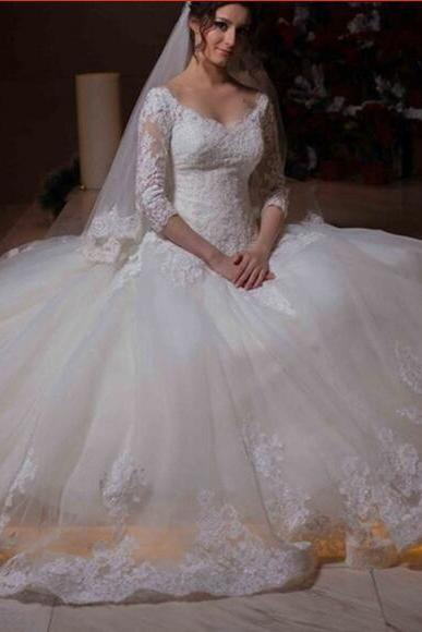 Long Sleeve Wedding Dress, V Neck Wedding Dress, Lace Applique Wedding Dress, Vestido De Novia, Cheap Wedding Dress, Elegant Wedding Dress, Wedding Dresses 2018, Custom Make Wedding Dress, Women Wedding Dress,