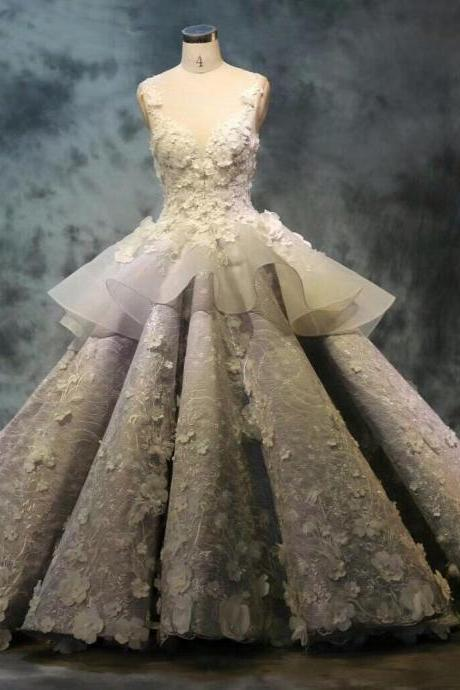 Luxury Wedding Dress, Wedding Ball Gown, Elegant Wedding Dress, Lace Applique Wedding Dress, Gray Wedding Dress, Wedding Dresses 2018, Vestido De Novia, Real Photo Wedding Dress, 2018 New Arrival Bridal Ball Gown