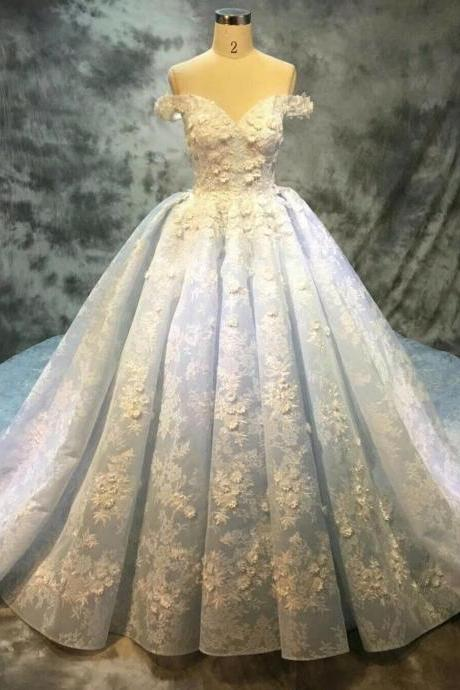 Off Shoulder Wedding Dress, Lace Wedding Dress, Blue Wedding Dress, Applique Wedding Dress, Wedding Ball Gown, Real Photo Wedding Dress, Gorgeous Wedding Dress, Luxury Wedding Dress, Chapel Train Wedding Dress