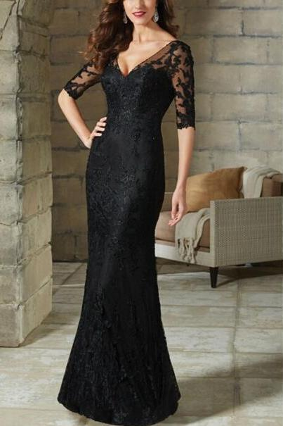 Black Evening Dress, Lace Applique Evening Dress, Mermaid Evening Dress, Elegant Evening Dress, Women Formal Dress, Cheap Evening Dress, Evening Dresses 2018, Backless Evening Dress, Evening Dresses Long