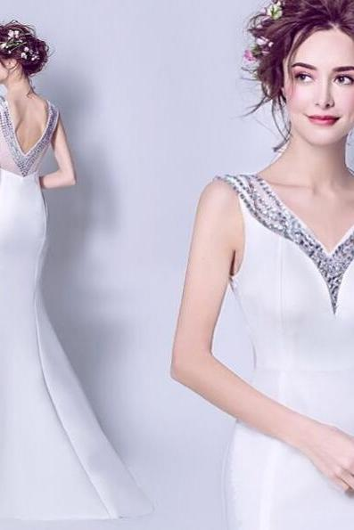 White Evening Dress, Beaded Evening Dress, Mermaid Evening Dress, Luxury Evening Dress, V Neck Evening Dress, Open Back Evening Dress, Evening Dresses 2018, Women Formal Dress, Sexy Evening Dress