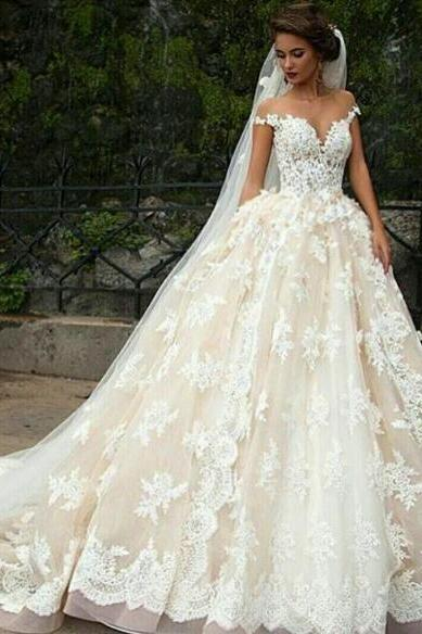 Lace Applique Wedding Dress, Luxury Wedding Dress, V Neck Wedding Dress, Boho Wedding Dress, Off the Shoulder Wedding Dress, Elegant Wedding Dress, Champagne Wedding Dress, Wedding Dresses 2018, Vestido De Novia