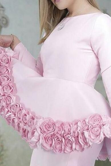 Dubai Evening Dress, Arabic Evening Dress, Pink Evening Dress, Mermaid Evening Dress, Long Sleeve Evening Dress, Handmade Flowers Evening Dress, Women Formal Dress, Evening Dresses 2018, Elegant Evening Dress