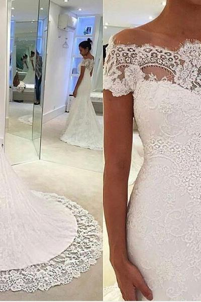 Mermaid Wedding Dress, Lace Applique Wedding Dress, Elegant Wedding Dress, Simple Wedding Dress, Off the Shoulder Wedding Dress, Wedding Dresses 2018, Vestido De Novia