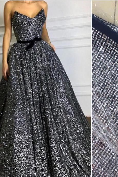 Gray Prom Dress, Sequin Prom Dress, Prom Dresses 2018, Long Prom Dress, A Line Prom Dress, Cheap Prom Dress, Sparkly Prom Dress, Vestido De Festa, Elegant Prom Dress