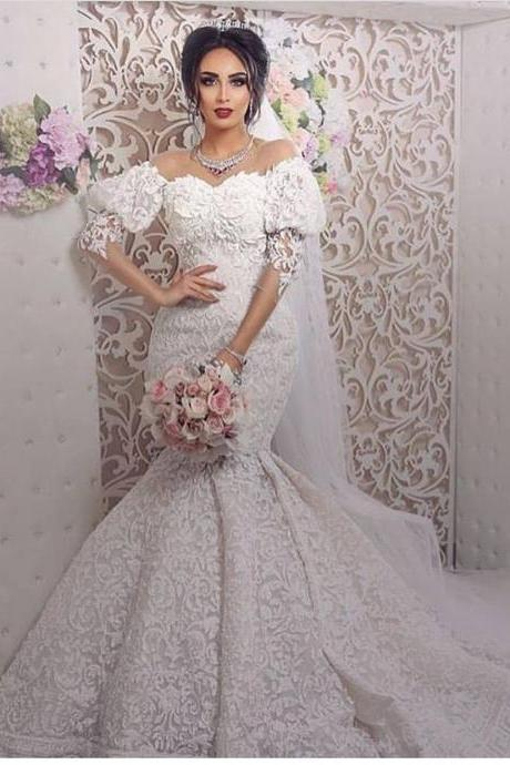 Saudi Arabic Wedding Dress, Mermaid Wedding Dress, Flare Sleeve Wedding Dress, Lace Wedding Dress, Elegant Wedding Dress, Gorgeous Wedding Dress, Cheap Wedding Dress, Wedding Dresses 2018, Vestido De Novia