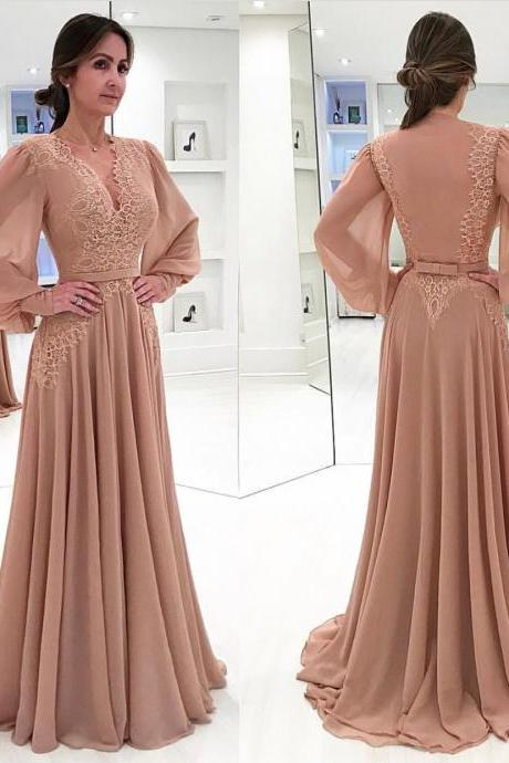 Dusty Pink Prom Dress Chiffon Dresses 2018 Lace Applique