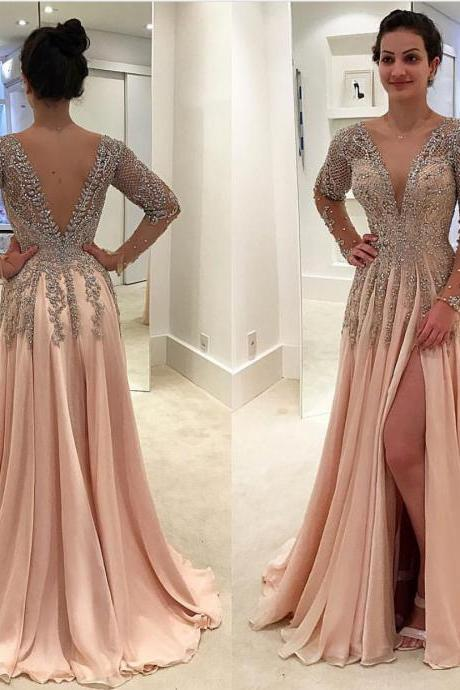 A Line Prom Dress, Long Sleeve Prom Dress, Champagne Prom Dress, Deep V Neck Prom Dress, Elegant Prom Dress, Prom Dresses 2018, Beaded Prom Dress, Sexy Prom Dress