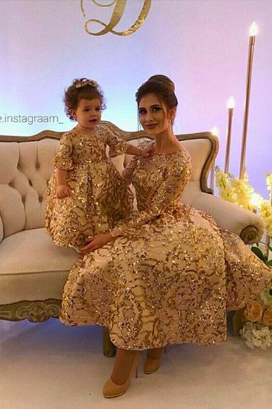 Mother and Daughter Matching Dresses, Gold Applique Evening Dress, Tea Length Prom Dress, Arabic Prom Dress, Luxury Prom Dress, Elegant Prom Dress, Sparkly Prom Dress, Kids Prom Gown, Baby Girl Evening Dress, Price for Two Dresses