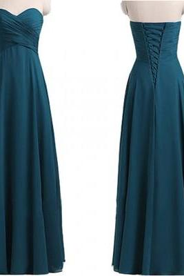 Teal Blue Bridesmaid Dress, Long Bridesmaid Dress, Chiffon Bridesmaid Dress, 2018 Bridesmaid Dress, Wedding Party Dress, Elegant Bridesmaid Dress, A Line Bridesmaid Dress, Wedding Guest Dresses