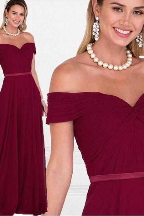 Simple Prom Dress, Burgundy Prom Dress, Chiffon Prom Dress, Prom Dresses 2018, Vestido De Festa, Elegant Prom Dress, Off the Shoulder Prom Dress, Women Formal Dress