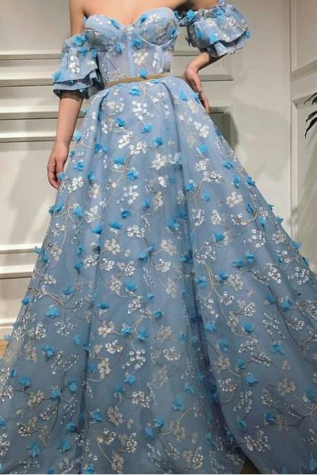 Blue Prom Dress, Off the Shoulder Prom Dress, 3D Flower Prom Dress, A Line Prom Dress, Prom Dresses 2019, Elegant Prom Dress, Saudi Arabic Prom Dress, Floor Length Prom Dress