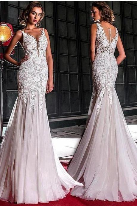 Mermaid Wedding Dress, Deep V Neck Wedding Dress, Elegant Wedding Dress, Wedding Dresses 2019, Vestido De Novia, Lace Applique Wedding Dress, Wedding Dresses 2019