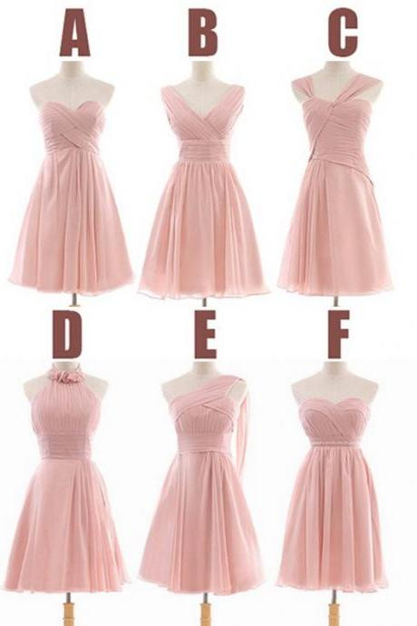 Pink Bridesmaid Dress, Short Bridesmaid Dress, Cheap Bridesmaid Dress, Mismatched Bridesmaid Dress, Wedding Party Dress, Junior Bridesmaid Dress, Custom Bridesmaid Dress