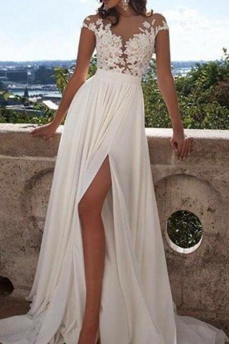 Chiffon Beach Wedding Dress, Lace Wedding Dress, Beach Wedding Dress, Beach Bridal Dress, Cheap Beach Bridal Dress