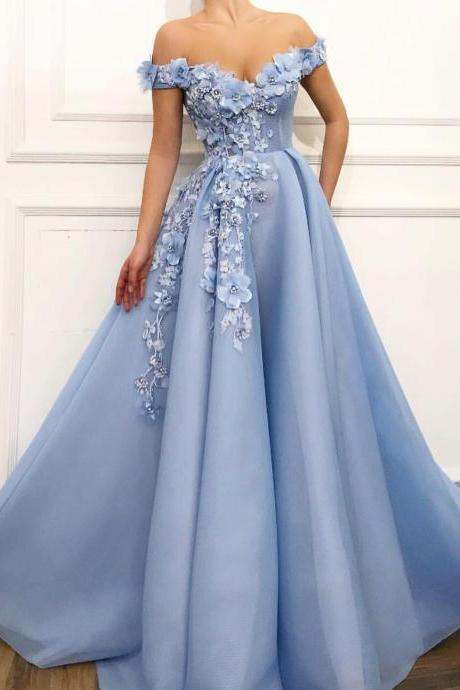 Off the Shoulder Prom Dress, 3D Flowers Prom Dress, Elegant Prom Dress, V Neck Prom Dress, Prom Dresses 2019, Vestido De Festa, A Line Prom Dress, Lace Applique Prom Dress