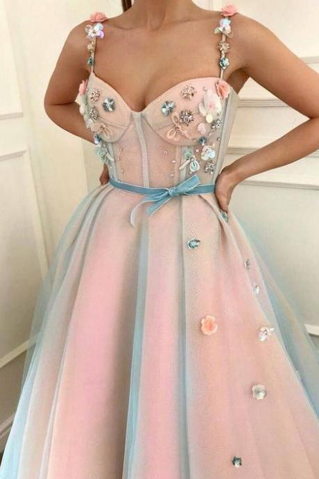 Pink Prom Dress, Sleeveless Prom Dress, 3D Flowers Prom Dress, Prom Gown 2019, Vestido De Festa, A Line Prom Dress, Prom Dresses Long, Senior Formal Dress, Robe De Soiree