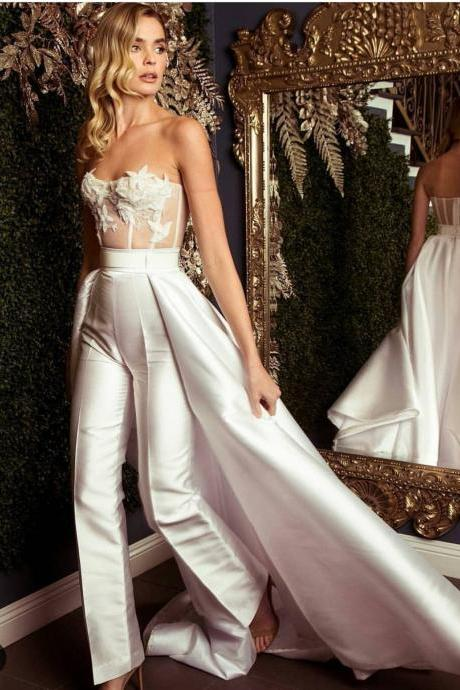 d4de49766e18 Jumpsuit for Women, Ivory Pants, Lace Applique Evening Dress, Rompers for  Women,