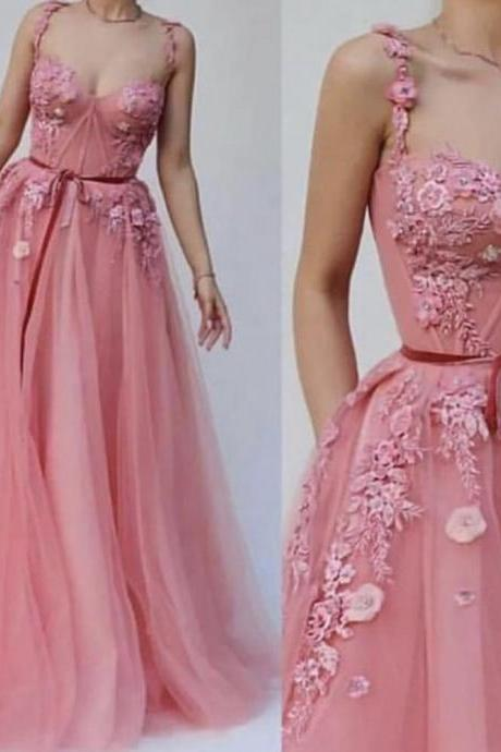 Off the Shoulder Prom Dress, 2019 Prom Dress, Pink Prom Dress, Elegant Prom Dress, Lace Applique Prom Dress, Robe De Soiree, A Line Prom Dress, Handmade Flowers Prom Dress
