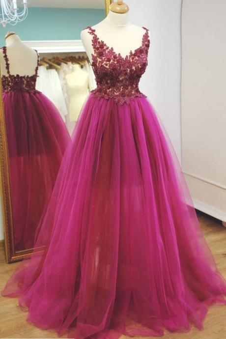 V Neck Prom Dress, Beaded Prom Dress, Hot Pink Prom Dress, Prom Dresses 2019, Lace Applique Prom Dress, Elegant Prom Dress, Prom Gowns, Vestido De Festa