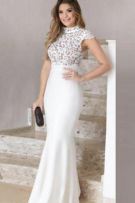 Embroidery Lace Evening Dress, Mermaid Evening Dress, Ivory Evening Dress, Evening Gown 2019, Long Evening Dress, Cap Sleeve Evening Dress, Elegant Evening Dresses
