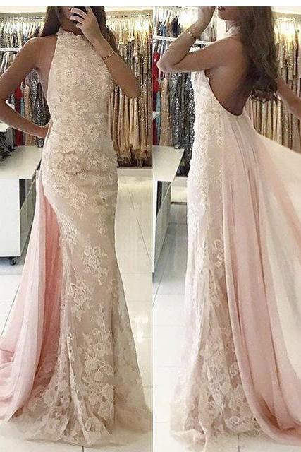 Pink Evening Dress, Detachable Skirt Evening Dress, Lace Applique Evening Dress, High Neck Evening Dress, Elegant Evening Dress, Robe De Soiree, Evening Gown, Formal Dress