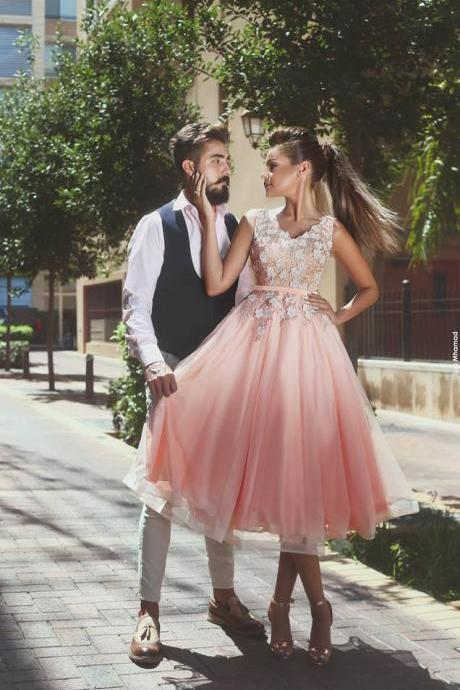 pink prom dress, short prom dress, lace applique prom dress, cheap graduation dress, tulle prom dress, homecoming dresses short, lace prom dress, vestido de graduacion, prom dresses 2020