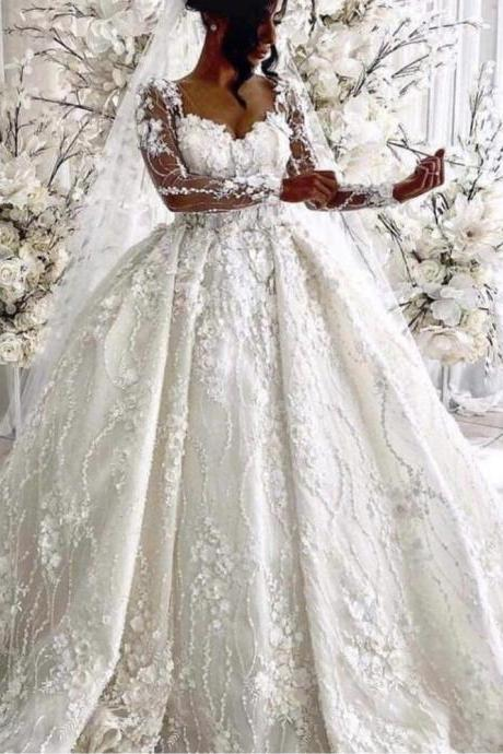 long sleeve wedding dress, wedding ball gown, lace applique wedding dress, boho wedding dress, robe de mariee, 3d flowers wedding dress, wedding gown, 2020 wedding dress, luxury wedding dress