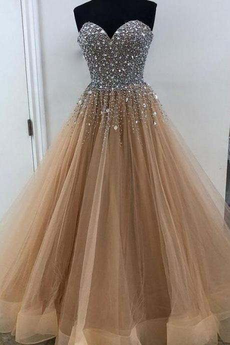 champagne prom dress, beaded prom dress, luxury prom dress, sweetheart neck prom dress, prom ball gown, elegant prom dress, crystals prom dress, prom dresses 2020, real photo prom gown, prom dresses 2019