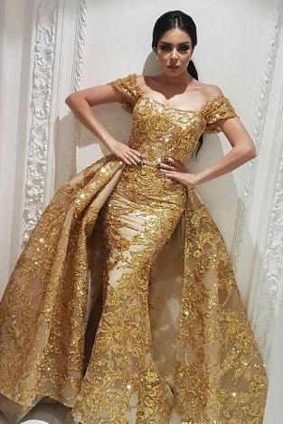 gold evening dress, detachable skirt evening dress, evening dress, evening dresses long, formal dress, elegant evening dress, sparkle evening dress, robe de soiree, arabic evening dress, luxury evening dress, 2020 evening dress