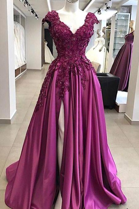 cap sleeve prom dress, purple prom dress, fuchsia prom dress, elegant prom dress, lace applique prom dress, prom gown, prom dresses 2020, beaded prom dress, prom dresses long, vestido de festa de longo