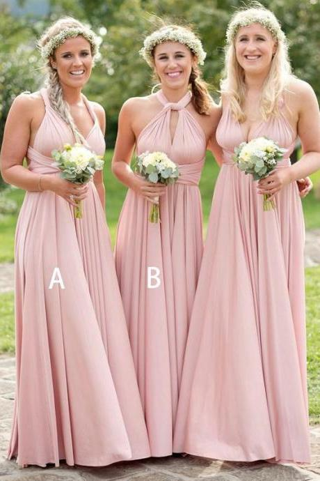 convertible bridesmaid dress, pink bridesmaid dress, bridesmaid dresses 2020, cheap bridesmaid dress, bridesmaid dresses 2019, custom bridesmaid dress, chiffon bridesmaid dress, wedding guest dress