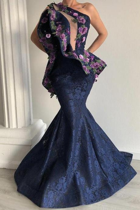 one shoulder evening dress, mermaid evening dress, lace evening dress, evening gowns, vestido de festa, robe de soiree, embrodiery applique evening dress, evening gown, formal dress, evening dresses 2020