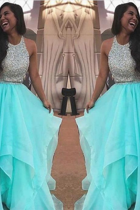 o neck prom dress, turuqoise blue prom dress, beaded prom dress, prom gown, vestido de graduacion, cheap prom dress, tiered prom dress, prom dresses 2020, prom gowns 2019, vestido de longo
