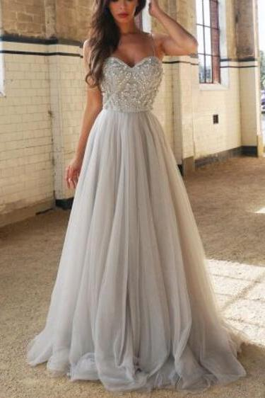 silver prom dress, prom gown, beaded prom dress, long prom dress, tulle prom dress, cheap prom dress, prom dresses 2020, 2019 prom dress, vestido de festa de longo, elegant prom dress