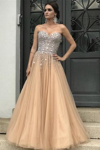 champagne prom dress, beaded prom dress, elegant prom dress, tulle prom dress, crystals prom dress, prom gown, prom dresses 2020, vestido de festa, robe de soiree, elegant prom dress, prom dresses 2019