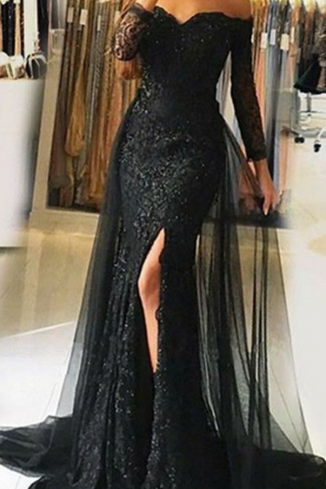 lace applique evening dress, off the shoulder evening dress, mermaid evening dress, black evening dress, detachable skirt evening dress, evening gown, robe de soiree, elegant evening dress, 2020 evening dress