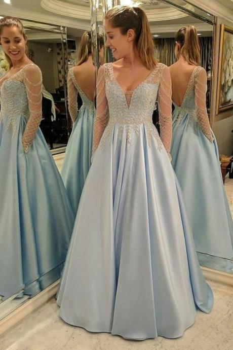 long sleeve prom dress, blue prom dress, light blue prom dress, satin prom dress, beaded prom dress, prom dresses long, prom gown, elegant prom dress, simple prom dress, 2020 prom dress, vestido de festa de longo