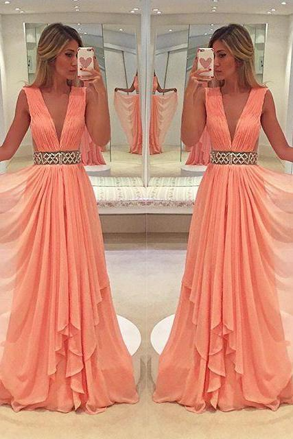 coral prom dress, beaded prom dress, v neck prom dress, prom dresses long, senior formal dress, cheap prom dress, elegant prom dress, prom gown, prom dresses 2020, vestido de festa, cheap prom dresses, evening gown, sexy formal dress