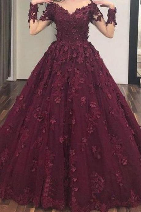 long sleeve prom dress, burgundy prom dress, lace applique prom dress, ball gown prom dress, vestido de festa, 3d flowers prom dress, prom ball gown, long sleeve prom dress, 2020 prom dress, vestido de graduacion