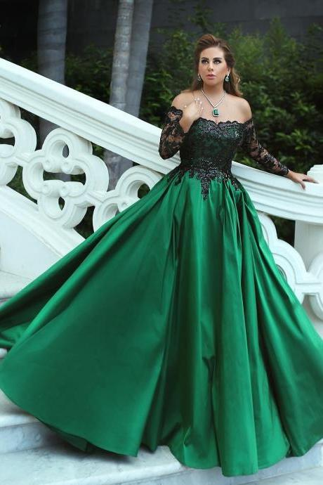 green prom dress, boat neck prom dress, elegant prom dress, prom gown, cheap prom dress, lace applique prom dress, prom dresses 2020, long sleeve prom dress, evening gown, vestido de festa