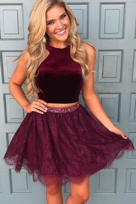 purple homecoming dress, 2 piece prom dress, cheap prom dress, two piece prom dresses, cocktail party dress, vestido de graduacion, 2020 prom dress, homecoming dresses short, cheap graduation dress