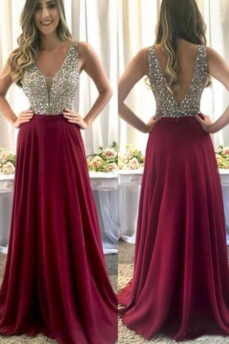 burgundy prom dress, v neck prom dress, prom gown, prom dresses long, beaded prom dress, senior formal dress, evening gown, 2020 prom dress, prom dresses for women, cheap prom dress, sexy formal dresses