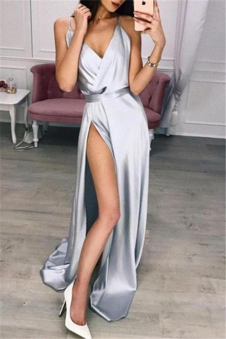 sexy formal dress, silver prom dress, prom dresses 2020, vestido de festa, robe de soiree, women fashion, evening gown, 2019 prom dress, v neck prom dress, prom dresses long, cheap prom dress, prom gowns