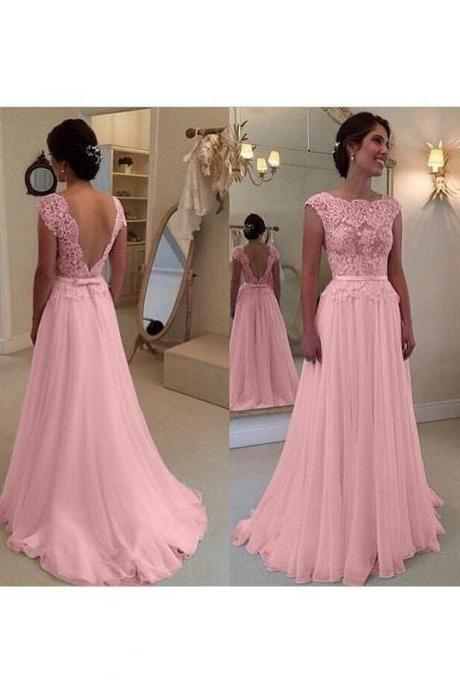 pink prom dress, lace applique prom dress, cap sleeve prom dress, prom gown, elegant prom dress, vestido de festa, cheap prom dress, senior formal dress, prom gowns, vestido de longo, 2020 prom dress