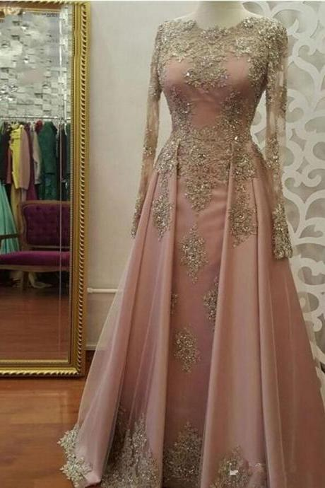 pink prom dress, lace applique prom dress, beaded prom dress, long sleeve prom dress, elegant prom dress, modest prom dress, vestido de festa de longo, luxury prom dress, real photo prom gown, 2020 prom dress