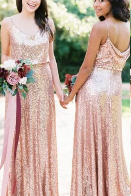 rose sequin bridesmaid dress, rose gold bridesmaid dress, cheap bridemsaid dress, wedding party dresses, custom bridesmaid dress, long bridesmaid dress, 2020 bridesmaid dress, sparkle bridesmaid dress, wedding guest dresses