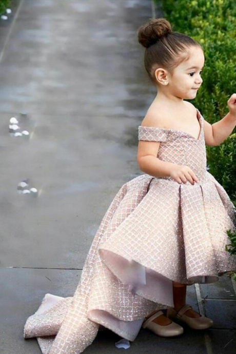 pageant little girl dresses 2020 champagne sparkle high low cheap flower girl dresses for weddings vestido de flora