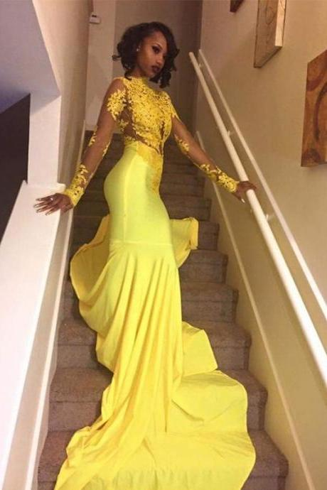 yellow evening dress, long sleeve evening dress, sexy formal dress, mermaid evening dress, lace applique evening dress, vestido de festa, african evening dress, elegant evening dress, evening gowns, robe de soiree